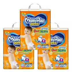 Mamy Poko กางเกงผ้าอ้อม รุ่น Happy Day & Night L62 ชิ้น 3 แพ็ค