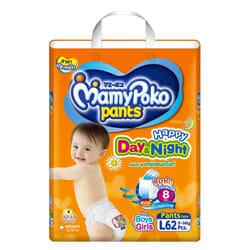 Mamy Poko กางเกงผ้าอ้อม รุ่น Happy Day & Night ไซส์ L 62 ชิ้น