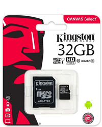 Kingston Micro SDHC/SDCS Class: 10 / U1 (80MB/s) – 32GB