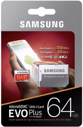 Samsung EVO Plus Micro SDXC Class: 10 / U3 (100MB/s) – 64GB