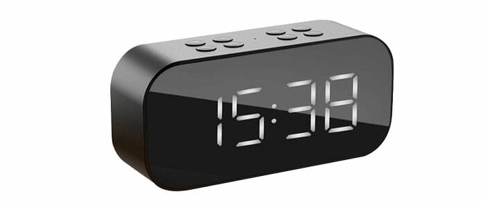 นาฬิกาปลุก หน้ากระจก ดิจิตอล พร้อมลำโพงบลูทูธ 5.0